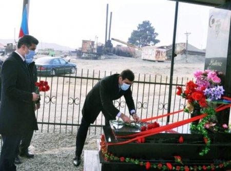 Naftalanda Vətən müharibəsi şəhidlərinin məzarı ziyarət edildi - FOTOLAR